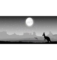 Silhouette a kangaroo the feeding vector image
