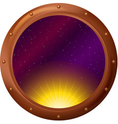 Sun and space in window vector image vector image