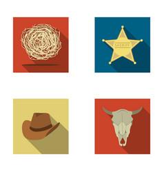 tumbleweed sheriff s star hat bull s skull vector image vector image