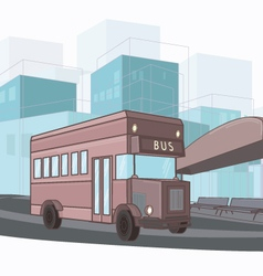 Urban colorful of city bus vector image