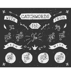 vintage style chalkboard catchwords and elements vector image vector image
