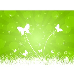 white butterflies on a green background a vector i vector image