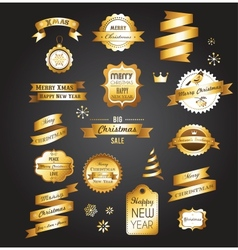 Christmas gold vintage labels elements and vector