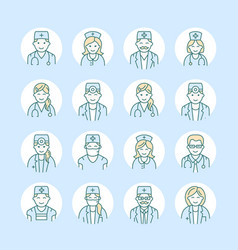 Cute line icon of doctor hospital clinic vector