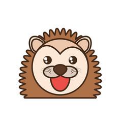 cute porcupine face kawaii style vector image