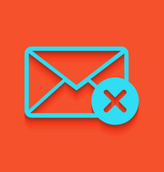 Mail sign with cancel mark vector