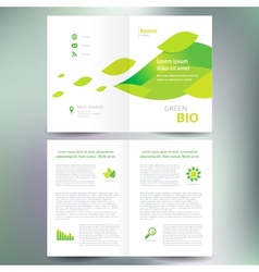 Booklet catalog brochure folder bio eco green leaf vector