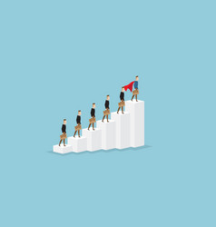 Businessman standing on stairs leader concept vector
