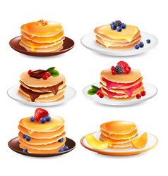 Maple pancakes isolated set vector