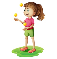 A cute little girl juggling vector