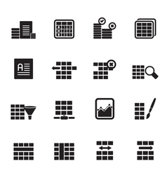 Silhouette database and table formatting icons vector
