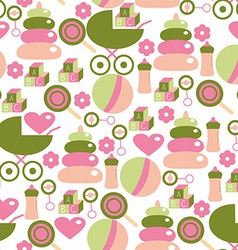 Seamless pattern for baby girl kids staff in pink vector