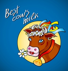 Funny cow carry wooden pail with milk lawn flowers vector