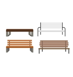 Outdoor bench icon set vector