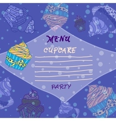 Hand drawn menu with cupcakes best for party vector