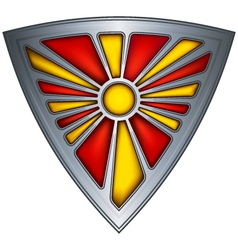 Steel shield with flag republic of macedonia vector