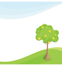 Lone pear tree in a field under blue sky vector