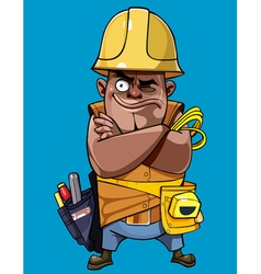Cartoon man in a helmet with tools standing vector