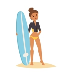 Surfing people girl vector