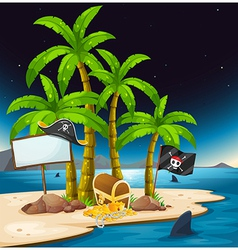 A pirate island with an empty signboard vector