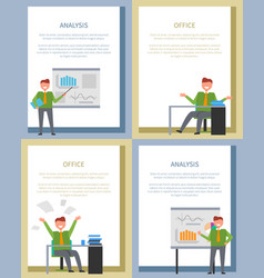 analysis poster with businessmen at board or table vector image