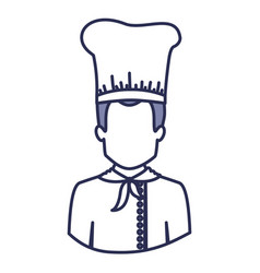 Blue contour of half body of faceless male chef vector