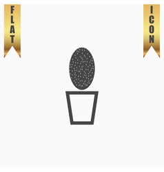 Cactus pot flat icon vector