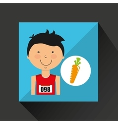 Cartoon boy athlete with carrot vector