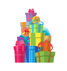 cartoon color gift boxes pile vector image