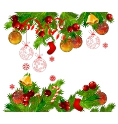christmas frame with fir branches vector image vector image