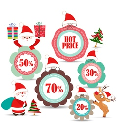 christmas labels and badges for sale vector image vector image