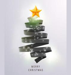 christmas tree made of black ribbon on bright vector image vector image