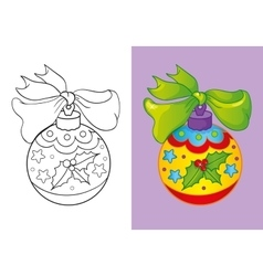 Coloring Book Of Christmas Yellow Ball vector image