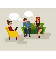Couple at the psychologist cartoon vector