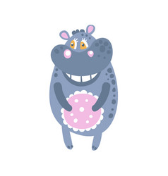 Cute cartoon hippo character standing front view vector