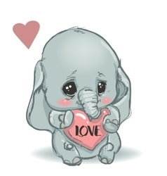 Cute little cartoon elephant vector