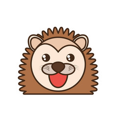 Cute porcupine face kawaii style vector