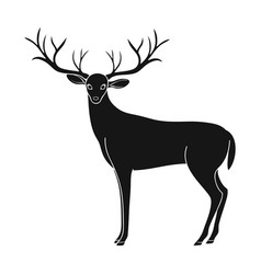 Deer with big hornsanimals single icon in black vector