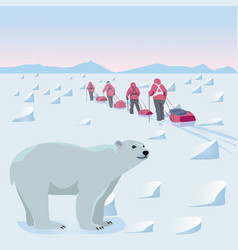expedition in the arctic vector image