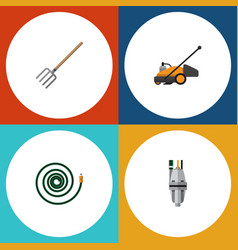 Flat icon garden set of pump hay fork hosepipe vector