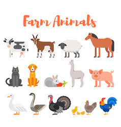 flat style set of farm animals vector image vector image