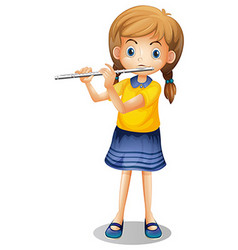 Girl playing flute alone vector