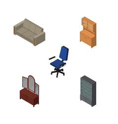 isometric furnishing set of sideboard couch vector image