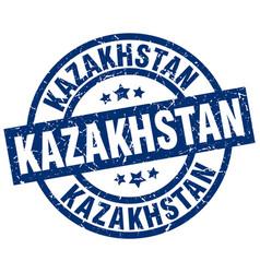 kazakhstan blue round grunge stamp vector image vector image