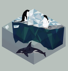 Low poly penguins and orca seascape poster vector