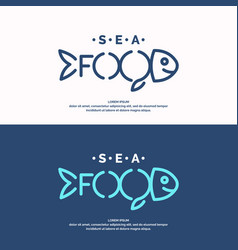 modern conceptual set of logos sea food vector image vector image