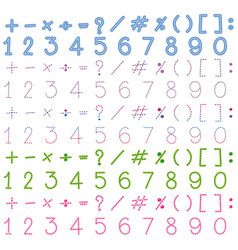 numbers and signs in many colors vector image vector image
