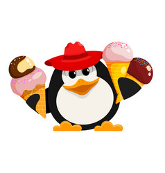 Penguin with ice cream cartoon style color image vector