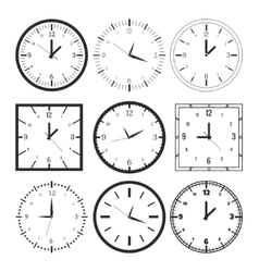 Set of 9 digital clock vector image