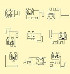Square linear cats vector